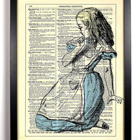 Alice Is Lost Alice In Wonderland Repurposed Book Upcycled Dictionary Art Book Print Recycled Vintage Dictionary Page  Buy 2 Get 1 FREE
