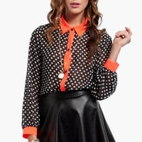 Polka Dot Button Down Blouse $37