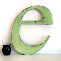 Wooden Letter E (Pictured in Moss) Pine Wood Sign Wall Decor Rustic Americana French Country Chic