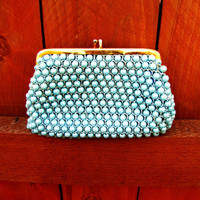 vintage robins egg blue beaded bag.  coin purse. change purse. small make up bag. gift for her