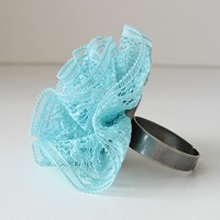 Aqua Lace Ring by bstudio on Etsy by bstudio on Etsy