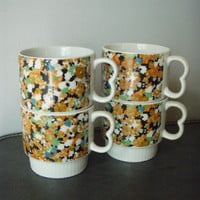 Vintage Porcelain Stacking MUGS 1970s Double by stilettogirl