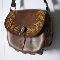 Faux Leather Vintage Floral Tooled Satchel BOHO by stilettogirl