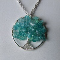 Teal Apatite Gemstone Tree of Life Pendant Necklace