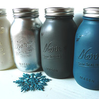 Hanukkah / Winter / Holiday Home Table Decor Centerpiece - Painted and Distressed Shabby Chic Mason Jars - Vase - Hanukkah Hues