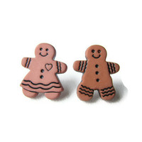 Gingerbread Earrings, Ginger Girl and Ginger Man Pair of Christmas Cookie Earrings