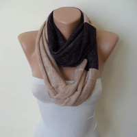 New - Two Colors - Infinity Scarf - Soft Tricot Fabric - Dark Purple and Beige - Cowl - Loop Scarf by Umbrella Design