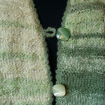 White and Sage Green Hand Knit Women's cardigan