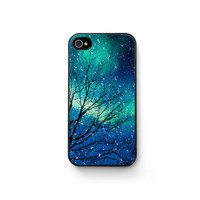 iPhone 4 Case, iPhone 4s, aurora borealis, northern lights, winter, zodiac, astrology, iPhone accessory, custom iPhone case, bomobob