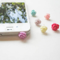Small Rose Garden- Iphone Headphone Sport Plug/ Dust Plug - 6 Colors - Ready to Ship Cellphone Accessories