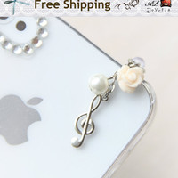 Music Note iPhone Earphone Plug. Treble Clef Cell Phone Charm. iPhone4, iPhone5, iPad, Samsung, iPhone Accessories. Free Shipping