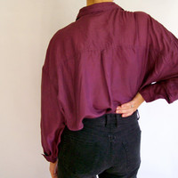 Vintage 1980s Oversized Pure Silk Purple Top // Plum Color Silk Shirt Unisex Size Large
