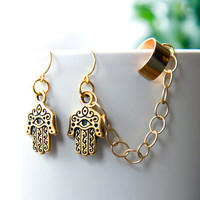 Hamsa Hand Ear Cuff Earrings, Gold bohemian earcuff with chain