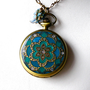 Teal Blue &amp;  Emerald Mandala Pocket Watch Locket Pendant Necklace  with Matching Earrings and Spring Ring Clasp