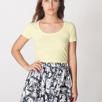 American Apparel - Illustrated Chiffon Double-Layered Shirred Waist Skirt