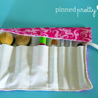 Makeup and Cosmetic Brush Holder in Hot Pink Scrolls