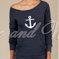 Womans Love and War Navy Anchor USN Eco  friendly Military off shoulder  fleece pocket sweater girlfriend wife mom grandma sister