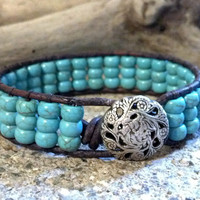 Turquoise Magnesite, Beaded Leather Wrap Bracelet, Leather Cuff, Chan Luu, Southwest chic