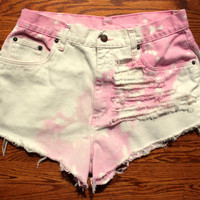 Pink and White Highwaist Denim Shorts