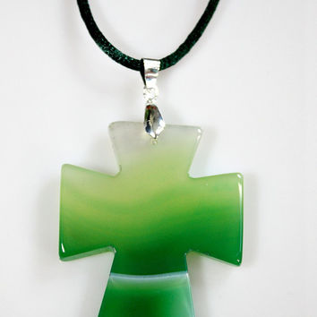 Agate Cross Pendant Necklace - Green Carved Onyx Agate Stone - Double Sided /  Suede Cord - Statement Necklace - Unique Easter Gift -