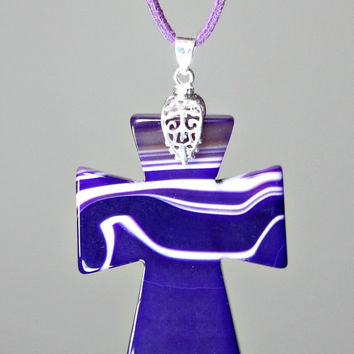 Agate Cross Pendant Necklace - Purple / White Carved Onyx Agate Stone /  Suede Cord - Statement Necklace - Unique Easter Gift -