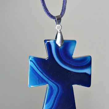 Agate Cross Pendant Necklace - Blue Carved Onyx Agate Stone - Double Sided /  Suede Cord - Statement Necklace - Unique Easter Gift -
