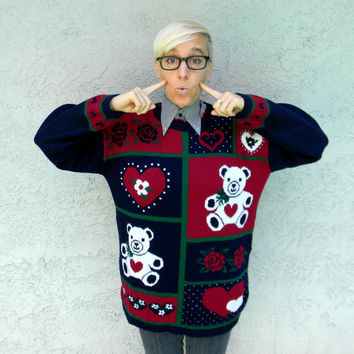 Ugly Sweater SALE - Vintage 80s Tacky Wonderful Teddy Bear Sweater - Maroon/Navy Blue/Green/White Teddy Bears and Hearts Jumper - Size M/L