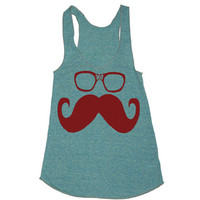 Womens Tank Mustache and Glasses Tri-Blend Racerback Tank Shirt - American Apparel tanktop  - XS, S, M, and L (9 Color Options)