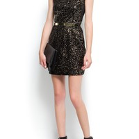MANGO - NEW! - Dresses - Contrasted sequins velvet dress