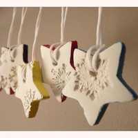 Snowflake Porcelain Ornaments, Whit.. on Luulla