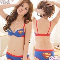 Women Superman Sexy Underwear Girls Cotton Bra Set Sports Lingerie Underwire