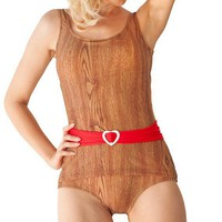 Dipper Sheathed Onepiece Belted Swimsuit in Wood Print with White Heart Slider (S-XL)