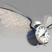 Time Flies Flying Novelty Clock - Clock with Wings That Flies Around the Room from Baron Bob  Wonderfully Wacky