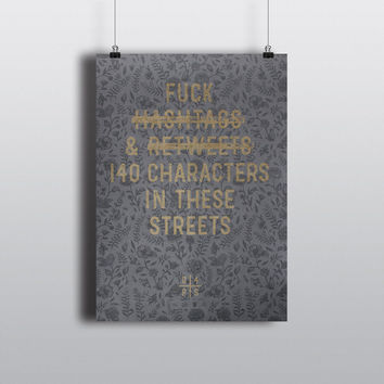 Hashtags & Retweets ( Black Floral - Limited Edition Print )