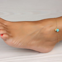 "Turquoise anklet, gold ankle bracelet, rose gold anklet, rose bracelet, wedding, turquoise bracelet, bridal, best friend anklet, ""Aigle"""