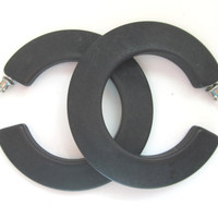 Vintage Large Black Letter C shaped, pierced earrings