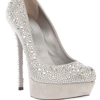 Gianmarco Lorenzi White Crystal Platform Pumps