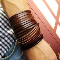 Jewelry Bangle Chocolacte Leather Bracelet Women Leather Cuff Bracelet Men Leather Bracelet Cuff  1368A