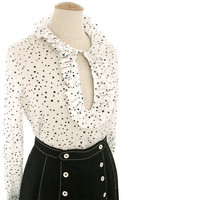Vintage 60s Blouse Sheer Black White Polka Dot Keyhole Ruffle Medium