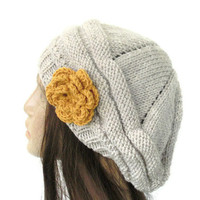 Hand Knit Hat - chunky knit Beehive beret  Oatmeal  mustard  flower- womens  hat Slouch Beanie
