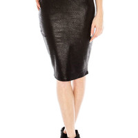 Black Faux Leather Fitted Pencil Skirt
