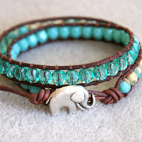 Bohemian beaded leather wrap, 2x bracelet, boho chic, Good Luck elephant, Chan Luu style, green, opaque, turquoise, aqua, beige