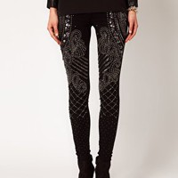 ASOS PREMIUM Leggings With Baroque Panel Embelishment at asos.com