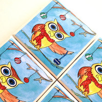 Christmas Owl Coasters, Ceramic Tile Set, Holiday Home Decor, Ornaments, Rosie Brown, Dining Entertaining