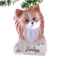 Pomeranian Ornament - Personalized Golden Pomeranian Christmas ornament