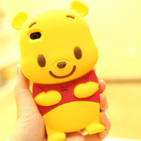 New 3D Winnie the Pooh Silicone Soft Cover Back Case for iPhone 5 5G +Free Gifts