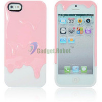 New Hot 3D Melt Ice Cream Hard Case Cover For. iPhone 5 5G 5th Gen Pink White GR