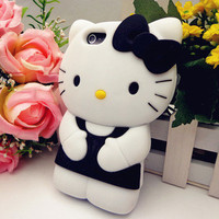 3D Black Hello Kitty Cute TPU Soft Silicone Back Case Cover for iPhone 5 5th