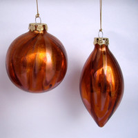 CIJ  Vintage Christmas Ornaments copper rust glass christmas in july