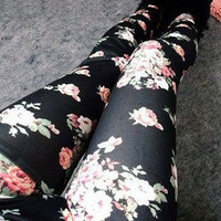 Womens Lady Sexy Thin Retro Flower Rose Print Leggings Tights Pants Fashion